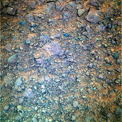 The Purple Rocks of Mars (sjrankin) Tags: 20july2017 edited nasa mars opportunity ground sand rocks colorized rgb bands257 purple