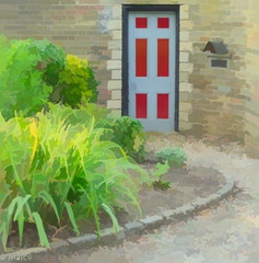 The Door In The Wall (M C Smith) Tags: pentax k3 door wall grey red plants green path edging letterbox yellow grasses bushes soil