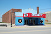 Fowler Theater at Fowler IN (kyfireenginephoto) Tags: movie indiana kentland marquee blue boswell sign roadside smalltown us52 lafayette usa neon in theater fowler sky poster light bench