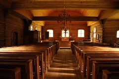 The wilderness-church (irio.jyske) Tags: wilderness church tree timber peaceful peace chairs windows lines quiety forest wild canonlens canoncamera