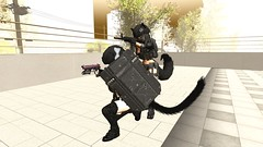 Battle buddies! :) (Iuved) Tags: second life secondlife ssoc guns rifles handguns shields riot shield nekomata kemono kemonomimi utilizator heterochromia white blue green eyes smile helmet body armor bullets bullet proof vest ears tail thigh highs tummies piercings tactical police training