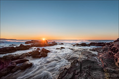 Beat a hasty retreat (JustAddVignette) Tags: australia beach cold dawn landscapes newsouthwales northernbeaches ocean palmbeach rocks seascape seawater sky sunrise swell sydney water waves windy