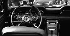 Mustang. (SkipperWP) Tags: ford mustang dashboard steeringwheel monochrome blackwhite blackandwhite bw fuji fujifilm xf50140 xt1 american car us vintage