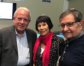 City of Miami Mayor Tomas Regalado with artist Erika King and collector Marty Margulies at Erika's commemorative collages exhibit at Miami City Hall