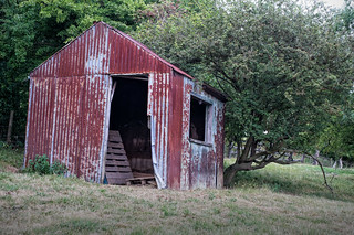 Rusty shed at the top of the field