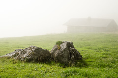 Home and Shelter (dhawan_anita) Tags: rock alps mountains cottage fog beautiful green nature