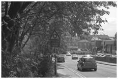 Reduce Speed Now (h_cowell) Tags: film filmisnotdead filmphotography believeinfilm analogue praktica 35mm sun sunshine sunny cars traffic road daylight street streetphotography roadsign tree leaves blackandwhite monochrome