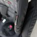 Black baby booster seat padding closeup