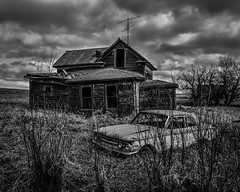 The coming Storm (Jeff Rowton (rebuilding)) Tags: abandoned rural eerie northdakota mercurycomet despair farm stormy foreboding derelect home