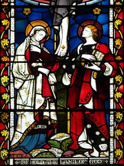 Virgin Mary & St John at the foot of the cross (Wider World) Tags: scotland glasgow westend stmarys episcopal cathedral stainedglass window crucifixion jesus virginmary saintjohn