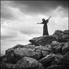 caro2 (sebastien barriol Photography) Tags: film photography hasselblad 500c mountain landscpae bw model dress pilat saint etienne france rock sky dark argentique