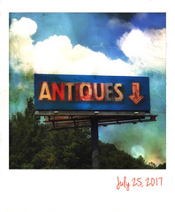 Summer road trip. (jeanne.marie.) Tags: textured roadtrip roadside sky mountains clouds summer summertime blackmountainnc roadsign billboard antiques iphone7plus iphoneography