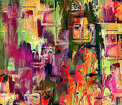 Transformation (D'ArcyG) Tags: woman abstract eyes vivid impression expressionist reds purples emotion confusion female