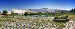 IMG_5346-5356 Pamukkale (Hierapolis), Turchia (Giovanni Pilone) Tags: pamukkale turchia akköy denizli ierapoli gerapoli hierapolis castellodicotone stitch stitched pano panorama landscape calcare bianco
