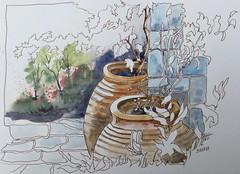"""""""Les jarres"""" Défiaqua : dernier du """"jardin.. et déjà un air de vacances"""" (alainhonoratlefebvre dit """" ALHO """") Tags: jardin aquarelle"""