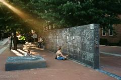 At the Free Speech Wall (davekrovetz) Tags: canonet light sunlight speech writing chalk charlottesville film kodak canon