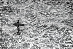 Wading in (FotoGrazio) Tags: california encinitas pacificocean surfer usa waynegrazio waynesgrazio allbymyself alone blackandwhite composition contrast fotograzio highcontrast highlights nature ocean onewithnature peace peaceful recreation reflections ripples saltwater sea silhouette solo sports surf surfboard wading water watersports wetsuit