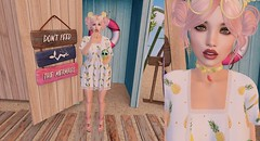 Post #1842 (şąşɧ =^^=) Tags: secondlife fashion blog summer beach mesh bento dress pineapple surfboard pinkatude watermelon fruit icecream gacha choker shoes pink yellow sandy skull green makeup applier