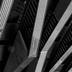balcony  abstract (morbs06) Tags: 2017 christopheroussellearchitectes france inoxiabuilding nantes paysdelaloire abstract architecture balcony building bw diagonal facade geometry highrise housing light lines pattern repetition shadow square stripes