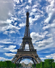 Tour Eiffel, Paris, France (Madlin Gökçe) Tags: toureiffel tour eiffel parisarchitecture architecture arbres trees sky cloudysky ciel clouds cielnuageux parc europearchitecture europe paris france bleu outside nicepicture high madlingökçe