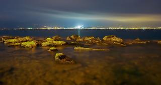 Night view of Sicily from Reggio Calabria