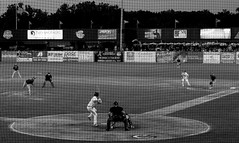 Cougars Baseball. 2 (X70) (Mega-Magpie) Tags: fuji fujifilm x70 kane county cougars minor league a baseball sport field outdoors il illinois usa america bw black white mono monochrome people players person guys men game fun pitch batter umpire geneva