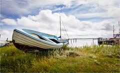 Blue Boat, blue Sky (Beppe Rijs) Tags: fjord landschaft natur landscape nature wolken wolkendecke gras horizont horizon clouds farbig colored line linie rural ländlich pastell color farbe blue blau vivid lebhaft dänemark denmark island insel hafen harbor marina boat boot water wasser ostsee balticsea