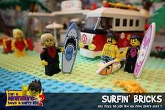 Surfin' Bricks (EVWEB) Tags: lego surf surfin surfing sea beach guys boys swimsuit fun humor shark minifigures palm vw hippie bus volkswagen