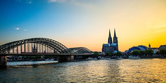 Evening light over Cologne Cathedral and Hohenzollern bridge (mary_hulett) Tags: night stpeterschurch rivercruise bridge reflection germany viking evening lights scene 2017 hohenzollernbridge travel musicdome europe colognecathedral cathedral cologne