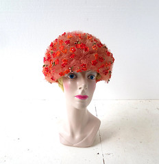 1960s one of a kind floral bubble hat by Jack McConnell (Small Earth Vintage) Tags: smallearthvintage vintageaccessories hat 1960s 60s jackmcconnell oneofakind ooak floralhat bubblehat tulle rhinestones