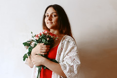 Birthday Girl (ирелла) Tags: red white ethnic irella roses peonies summer