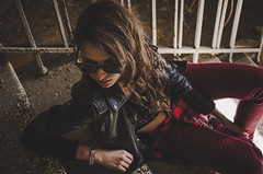 Anna (ivan_volchek) Tags: girl railings stairs dust mud pants jacket scratches hair goggles piles black gray