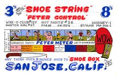 The Viking: Shoe String & Shoe Box - San Jose, California (73sand88s by Cardboard America) Tags: qsl cb cbradio vintage qslcard dirty theviking california