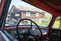 IMGP5638 (Matt_Burt) Tags: colorado antique decay ranch steeringwheel truck pickup old cabin shed log