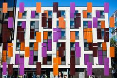 Study in Orange and Purple (Dom Walton) Tags: orange purple darkred bluesky mirror mondrian domwalton premier premierinn express portsmouth