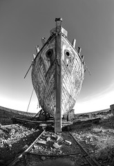 I dream of the skull and the crossbones (PeterThoeny) Tags: akranes iceland akranesshipruin ship boat ghostship abandoned abandonedship day monochrome blackandwhite sony sonya7 a7 a7ii a7mii alpha7mii ilce7m2 fullframe rokinon12mm rokinon12mmf28 samyang12mm samyang12mmf28 ultrawidefisheyelens fisheyelens 2xp raw photomatix hdr qualityhdr qualityhdrphotography symmetry onepointsymmetry fav200
