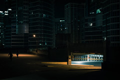 Shadows in a Sleeping City (BB ON) Tags: toronto ontario canada night city urban lights concrete glass steel building 3am structure parking people shadow silhouette outdoor contrast blue orange nikon