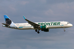 N719FR FRONTIER A321-211SL at KCLE (GeorgeM757) Tags: n719fr frontier a321211sl aircraft alltypesoftransport airplane aviation airbus midnightthewolf georgem757 kcle landing