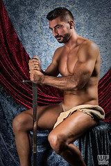 Legends of the Sword - Iconography (WF portraits) Tags: srb model male portrait studio legend sword iconography nude naked beard shaven chest hairy arms red blue pose misenscene mythology saint history