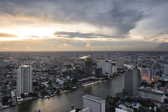 Bangkok Aerial View (tapanuth) Tags: bangkok aerialview view chaophrayariver river cityscape city vantagepoint sunset sky cloud building highrises skyscraper hotel condominium evening dusk afternoon landscape water urban skyline architecture downtown business finance district