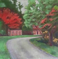 Bright Tree at Long Hill (Revised) as of July 23, 2017 (randubnick) Tags: art painting workinprogress oilbars landscape longhillgardens october