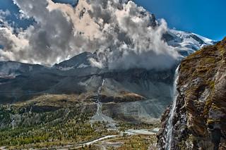 Water falls in front of the Matterhorn.  (Switzerland, Kanton Wallis , Zermatt) No, 2458,