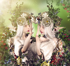 Berry twins (meriluu17) Tags: coco lode berry blackberry blueberry forest wild fairy fae fantasy faes fairies elf elfs elven magical surreal people portrait albino sister sisters twin twins berries silent
