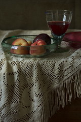 Still Life with Peaches and Red Wine (suzanne~) Tags: stilllife indoor fruit wine glass peach plum lace tablecloth painterly