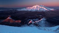 The Dawn Glow (blue polaris) Tags: new zealand tongariro national park alpine crossing mountain volcano winter snow sunrise landscape mt ruapehu ngauruhoe summit tama lakes