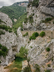 stream and gorge beginning (maryannenelson) Tags: france gorge rocks view cliff dropoff landscape wall bikers