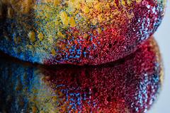 Sponge (PhilR1000) Tags: macro sponge art colour red blue yellow paint reflection mirror macromondays memberschoicetexture