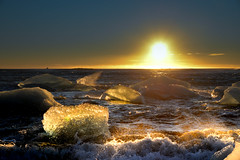 Iceland (St James Gate) Tags: beach iceland sunny ice plage glace sunset sunlight winter