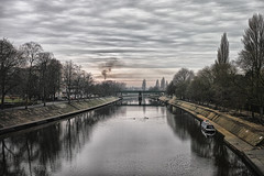 Distant Smoke (jamesromanl17) Tags: water reflection river tree bridge sky landscape travel canal waterfront skies clouds cloud cloudscape cloudy industrial industry smoke york yorkshire england britain city architecture winter reflections sigma foveon dp2 merrill