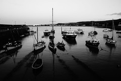 Finished for the Day (JamieHaugh) Tags: minehead somerset england uk sony a6000 outdoors water boats quay harbor sky seascape blackandwhite blackwhite bw monochrome evening finished day seaside coast reflection beach